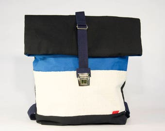 Blue large backpack / Upcycling bagpack