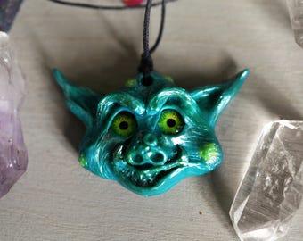 Crazy Goblin Fantasy Creature Necklace, Hand Sculpted, OOAK, Polymer Clay Pendant