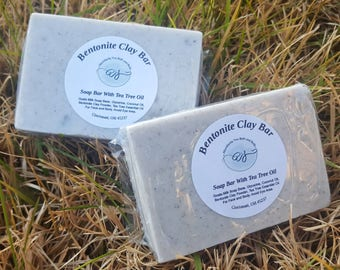 Bentonite Clay Facial Cleansing Soap Bar | Goats Milk | Optional Tea Tree Essential Oil