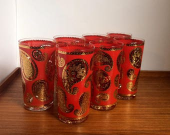 Culver Red Paisley Highball Glasses, Set of 7, Mid-Century Modern