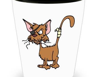 Broken Tail Cat Shot Glasses Liquor Drink Shots Party Drinking Kitty Shots Barware
