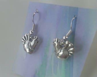 Silver Hen Earrings