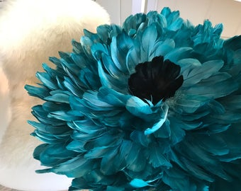 Teal Bohemian African JuJu Hat Headress Bohemian Feather Decor Choose Colors 25x25