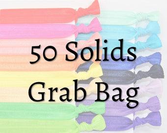 Hair Ties ~ 50 Pack Solids GRAB BAG, Handmade Ponytail Holders, Knotted Elastic Hair Ties, Hair Bands, Yoga, FOE, MissPonytail