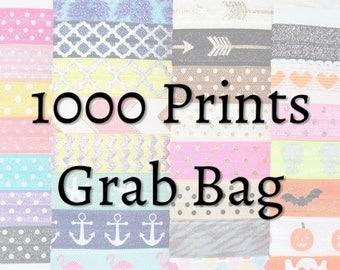 Bulk Hair Ties ~ 1000 Pack GRAB BAG PRINTS Handmade Trendy Ponytail Holders Knotted Stretchy Elastic Yoga Hair Bands MissPonytail