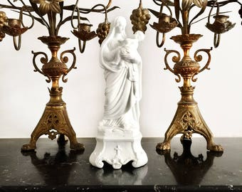 Antique Virgin Mary Statue, an Outstanding Italian Madonna and the Child Bisque Figure, Mid 19th Century