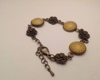 Bracelet bronzes cabochon Moroccan mosaic