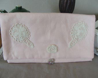 pink polka dot white cotton lace flower Betty mirror pouch flap and button