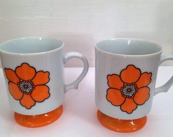 Set of TWO Vintage Japanese ceramic mugs with Retro orange flower