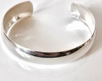 Sterling Silver Bangle/Polished Cuff Bangle/Handmade/Highly Polished