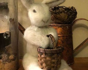 Needle felted bunny with hand made basket