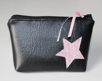 Wallet / faux leather black and pink glitter Star card holder
