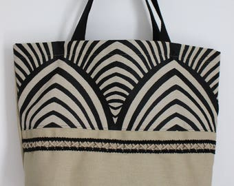 Beige and black graphic Tote