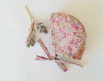 Floral lawn baby bonnet
