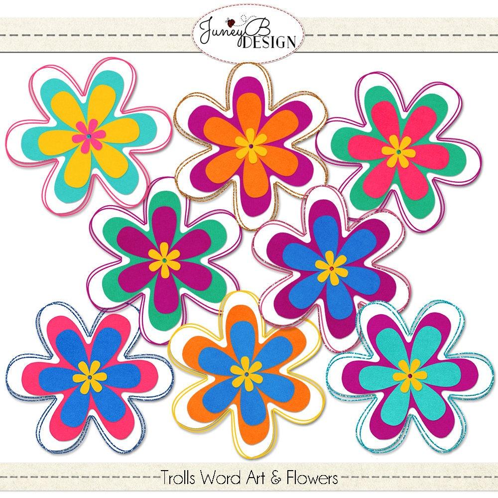 Trolls Word Art, Flower Clip Art, Scrapbook Word Art ...