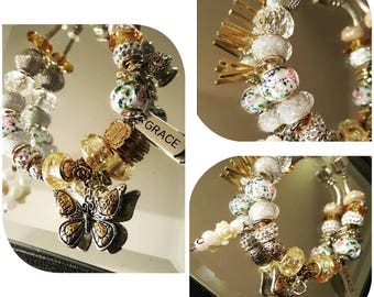 Personalized Pandora Style Charm Bracelet, Bracelet, Charm Bracelet, Pandora style Bracelet