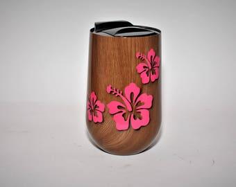 Custom wine glass woodgrain wine glass w/ hibiscus image, vacuum insulated wine glass yeti style wine glass