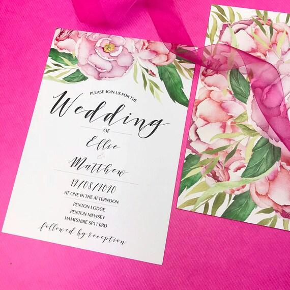 Blush wedding invitation suite, Boho wedding invitation set, Rustic wedding invitations cheap, Floral wedding invites modern, Bohemian A5