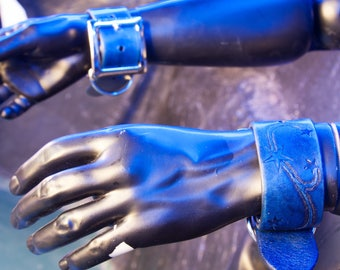 Starstreak Restraints - Leather BDSM cuffs in a beautiful blue with a hand tooled star design