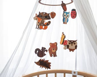 Forest mobile  -Baby mobile forest animals - Baby mobile forest - Forest baby mobile - Forest animals décor - Forest nursery mobile