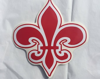 Fleur de Lis Decal - Red and White  - Peel & Stick - 7x6.6 - Made in the USA