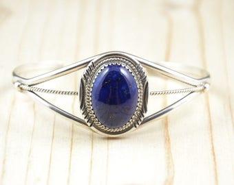 Woman bracelet,lapis lazuli bracelet,silver bracelet,navajo bracelet,native american,Perry Yazzie