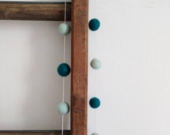 Teal and mint feltball garland, boho decor, bohemian, felted pompom garland, bedroom decor, nursery decoration, hygge home decor,