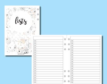 PERSONAL WIDE RINGS: Lists Printable Insert