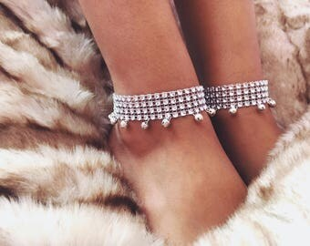 Silver Diamond anklet with jingle bells -  Gift for her