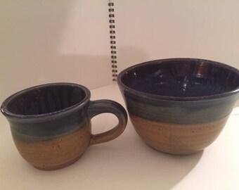 Handmade stoneware mug and bowl set