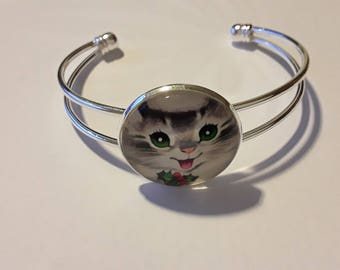 Silver metal cap 25mn cat bracelet