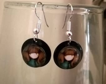 Earrings black cabochon lozenge 10 minutes