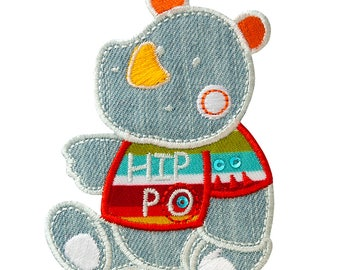 Patch/Temple-Hippo Hippo animal children-grey-8.2 x 6.2 cm-by catch-the-Patch ® patch appliqué applications for ironing application patches patch