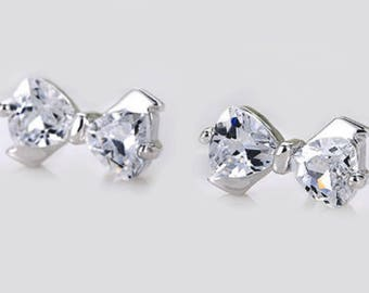 Cubic zirconia bowtie studs | bridal earrings | wedding earrings | bridesmaid earrings | zirconia earrings | crystal earrings | cz earrings