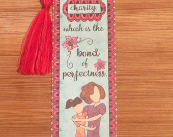 Bible Verse Bookmark - Colossians 3:14 -  handmade WITH tassel  (stock #14) put on charity...the bond of perfectness