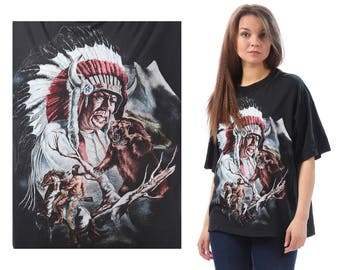 Oldschool Native American Graphic T Shirt 1990s Black White Bown Shirt Indian Print Ethnic Tee 90s Grunge Hipster Medium Large