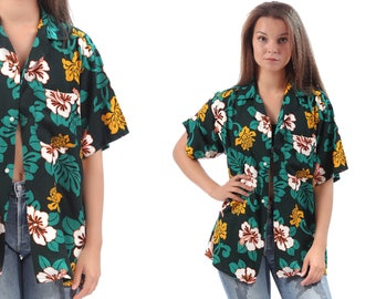 TROPICAL Shirt 80s Vintage Hawaiian Blouse Floral Button Up 80s Surfer HIBISCUS Print Short Sleeve Black Green Retro Top 1980s Short Large