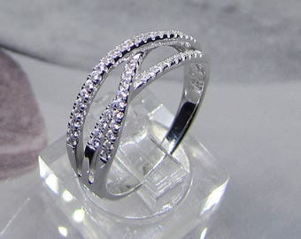 Ring in 925/1000 sterling silver with oxide of Zirconium size 60