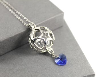 Star and Swarovski Crystal Locket with Fillable Glass Orb, Memorial Jewellery, Urn Locket, Fillable Jewellery. Cremation Necklace
