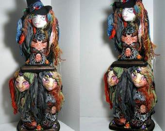Halloween Art Doll Busts Stand, Three Fairy Witches Stand, Samhain Soft Sculpture Display