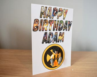 Personalised Wolverine Lego Inspired Birthday Card - Includes Figure!!