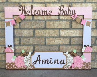 Superior Giant Photo Booth Frame Floral Themed Baby Shower, Customized With Message,  Includes Flowers,