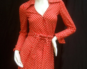 Diane von Furstenberg Italian Cherry Red Wrap Dress c 1970s