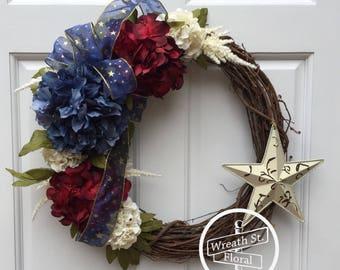 Patriotic Wreath, Star Wreath, Americana Wreath, 4th of July Wreath, Front Door Wreath, Summer Wreath, Wreath Street Floral, Memorial Day