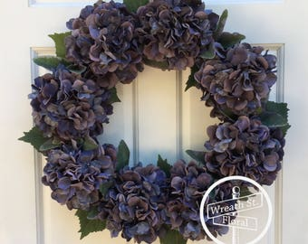 Hydrangea Wreath, Front Door Wreath, Everyday Wreath, Year Round Wreath, Grapevine Wreath, Wreath Street Floral, Purple Wreath, Door Wreath