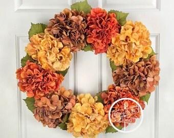 Hydrangea Wreath, Autumn Wreath, Front Door Wreath, Summer Wreath, Fall Wreath, Door Wreath, Grapevine Wreath, Everyday Wreath