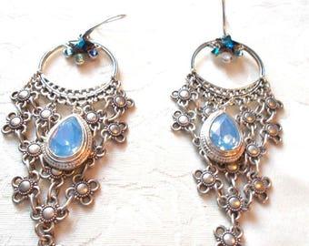 weaving flowers and Sky Blue Crystal Silver earrings