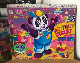 Vintage Lisa Frank Panda Painter Large Coloring Activity Tablet Sticker Sheet