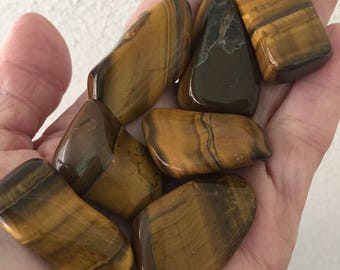 Tiger Eye Stone Tumbled/Healing Crystal/ Tigers Eye/ Heart Chakra Crystal/   CY129