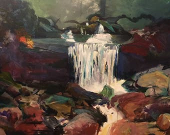 Acrylic Abstract Waterfall Painting